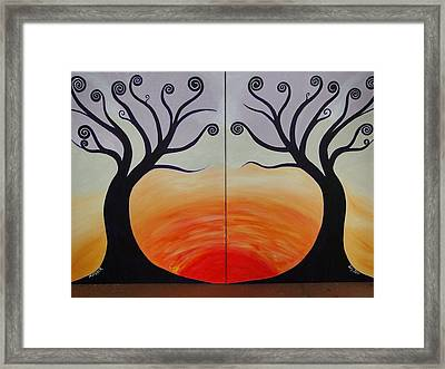 Double Trees Framed Print by Monica Moser