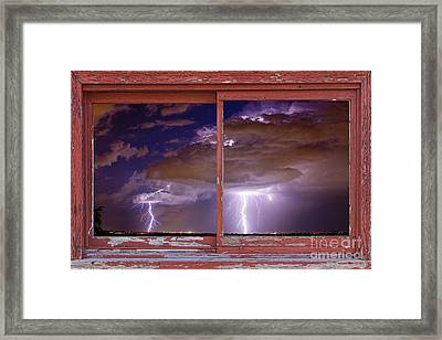 Double Trouble Lightning Picture Red Rustic Window Frame Photo A Framed Print by James BO  Insogna