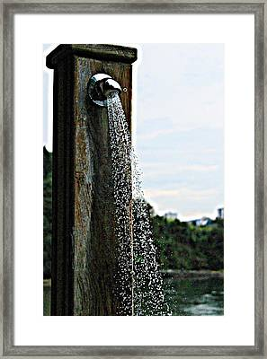 Douches In The Beach Framed Print by Jenny Senra Pampin
