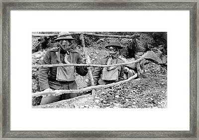Doughboys Wear Gas Masks Framed Print by Everett