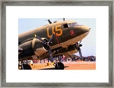Douglas C47 Skytrain Military Aircraft . Painterly Style . 7d15774 Framed Print by Wingsdomain Art and Photography