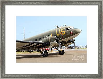 Douglas C47 Skytrain Military Aircraft . Spinning Propellers 7d157840 Framed Print by Wingsdomain Art and Photography