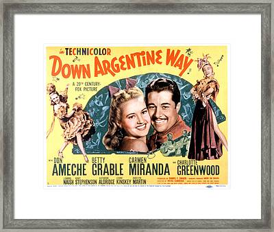 Down Argentine Way, Betty Grable, Don Framed Print by Everett