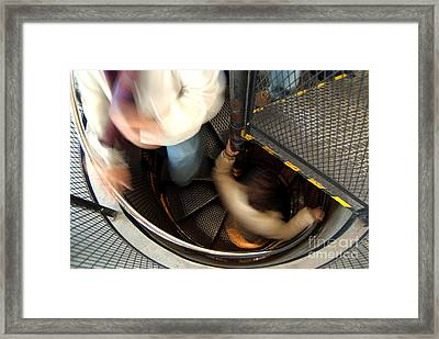 Down The Stairs Inside The Astronomical Clock Framed Print by Serena Bowles