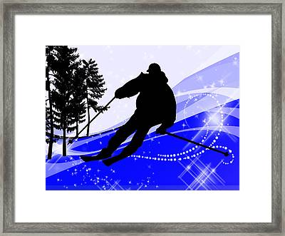 Downhill On The Ski Slope  Framed Print by Elaine Plesser