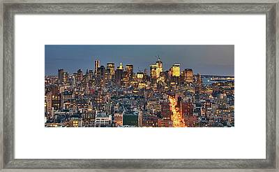 Downtown At Dusk Framed Print by Photo by Dan Goldberger