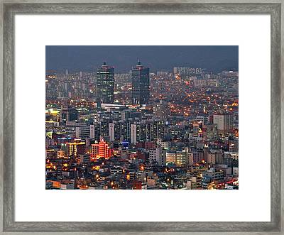 Downtown At Night In South Korea Framed Print by Copyright Michael Mellinger