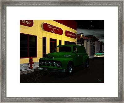 Framed Print featuring the digital art Downtown Bar And Grill by John Pangia