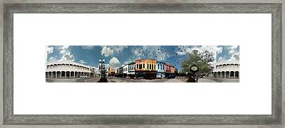 Downtown Bryan Texas Panorama 5 To 1 Framed Print