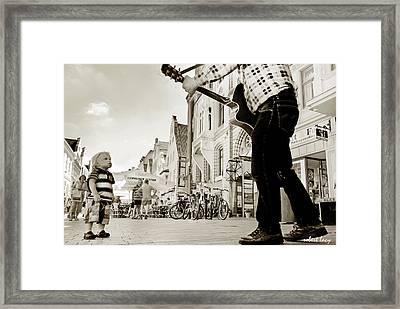 Downtown Busker Framed Print