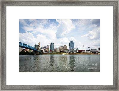 Downtown Cincinnati Skyline Buildings Framed Print by Paul Velgos