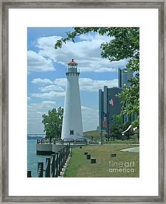 Downtown Detroit Lighthouse Framed Print by Ann Horn