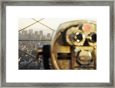 Downtown Manhattan Behind Coin Operated Binoculars Framed Print