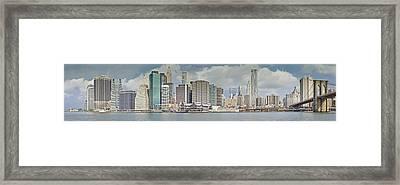 Downtown Manhattan Panorama 3 Framed Print