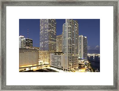 Downtown Miami At Dusk Framed Print by Marcaux
