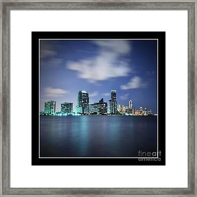 Downtown Miami At Night Framed Print by Carsten Reisinger