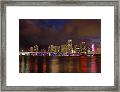 Downtown Miami At Night Framed Print by Claudia Domenig