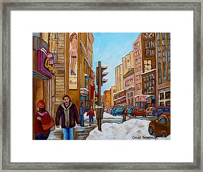 Downtown Montreal Paintings Framed Print by Carole Spandau