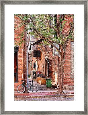 Downtown Northampton - Alley And Bike Framed Print