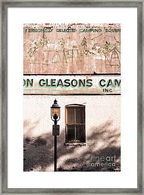 Downtown Northampton - Streetlamp And Store Framed Print