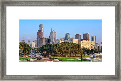 Downtown Philadelphia Skyline Framed Print by Olivier Le Queinec