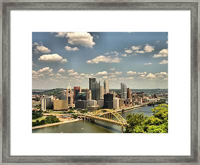 Downtown Pittsburgh Hdr Framed Print by Arthur Herold Jr