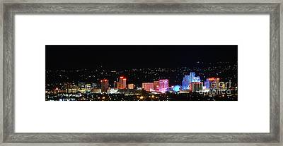 Downtown Reno Nevada At Night Framed Print by Scott McGuire