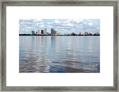 Downtown Tampa Over Hillsborough Bay Framed Print by Carol Groenen