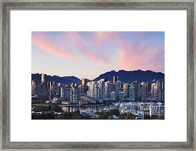 Downtown Vancouver Skyline At Dusk Framed Print by Jeremy Woodhouse
