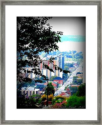 Framed Print featuring the photograph Downtown View From Hamilton Mountain  by Danielle  Parent