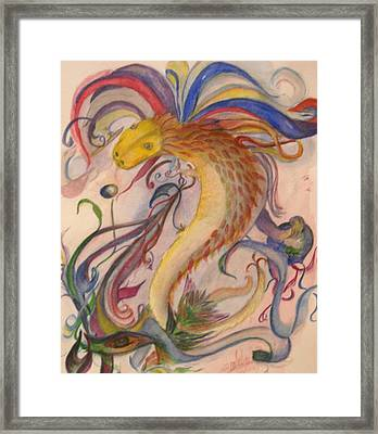 Dragon And Ribbons Framed Print by Marian Hebert