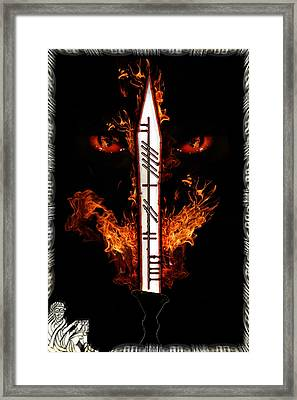 Dragon Flame And Sword Framed Print by Stephen Paul West