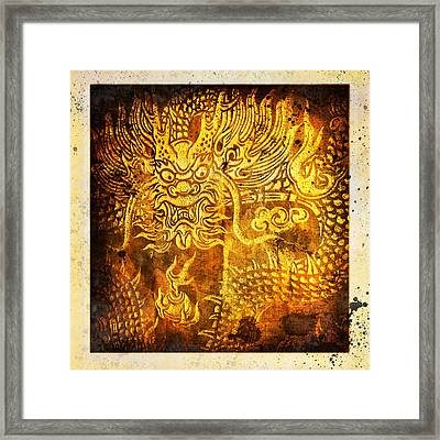 Dragon Painting On Old Paper Framed Print by Setsiri Silapasuwanchai