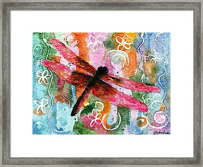 Dragonfly Fairy I Framed Print by Miriam Schulman
