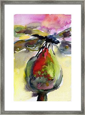 Dragonfly On Flower Bud Watercolor Framed Print by Ginette Callaway
