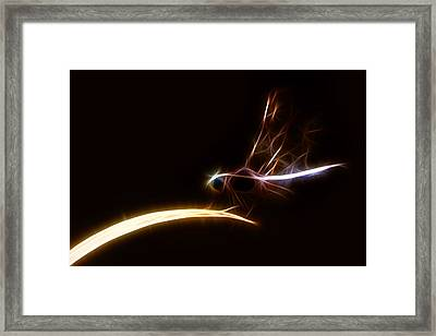 Framed Print featuring the digital art Dragonfly On Golden Blade by Lynne Jenkins
