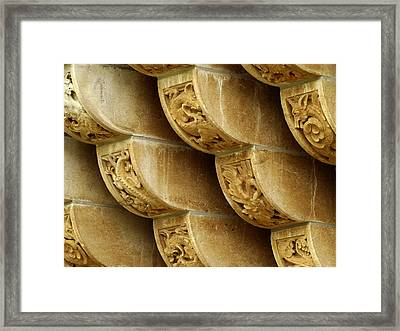 Dragons Architectural Detail Framed Print by Ann Powell