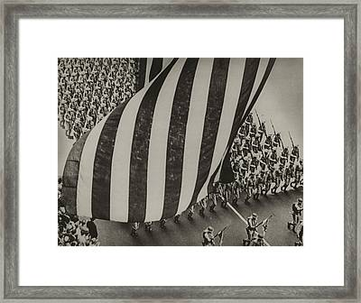 Dramatic Photo Of Us Flag And Uniformed Framed Print by Everett
