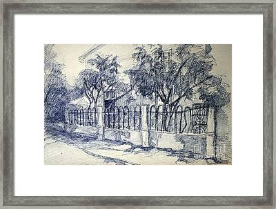 Drawing Of A Little Street Framed Print by Zanda Milzaraja