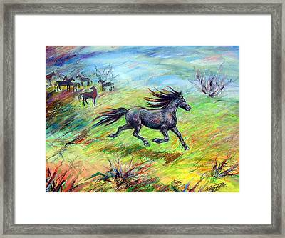 Framed Print featuring the painting Dream Horse In Flight by Nancy Tilles