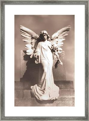 Dreamy Angel Wings Statue Monument -  Ethereal Surreal Angel Statue Framed Print