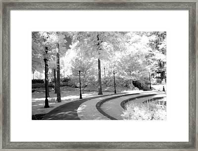 Dreamy Black White Infrared Nature Landscape Framed Print by Kathy Fornal