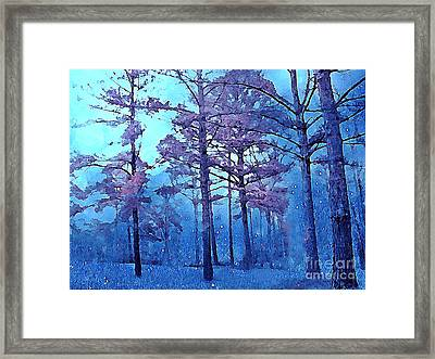 Dreamy Blue Impressionistic Nature Scene Framed Print by Kathy Fornal