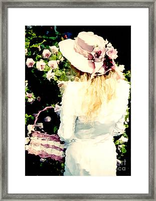 Dreamy Cottage Chic Girl Holding Basket Roses Framed Print
