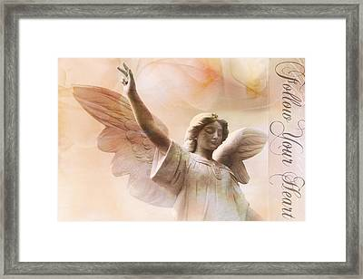 Dreamy Ethereal Angel Art-follow Your Heart Framed Print by Kathy Fornal