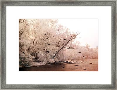 Dreamy Ethereal Infrared Lake With Ravens Birds Framed Print by Kathy Fornal