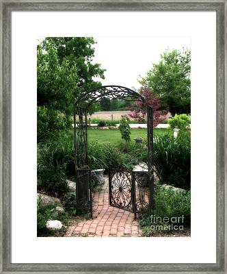 Dreamy French Garden Arbor And Gate Framed Print by Kathy Fornal