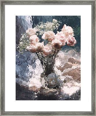 Dreamy Impressionistic Cottage Pink Roses  Framed Print by Kathy Fornal