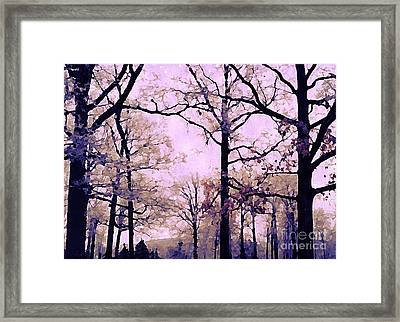 Dreamy Impressionistic Romantic Nature Trees Woodlands Forest Autumn Pink Mauve Lavender Framed Print