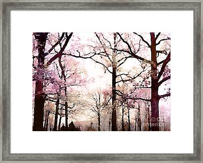 Dreamy Impressionistic Romantic Rose Fall Trees Framed Print
